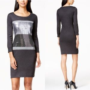 Calvin Klein colorblocked sequin sweater dress L